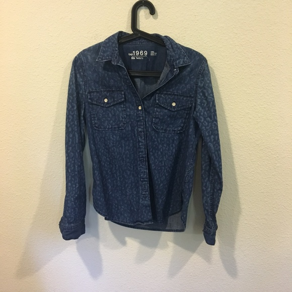 GAP Tops - Gap animal print denim button down shirt